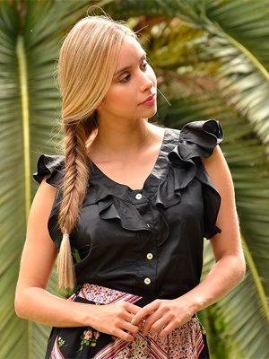 blusa casual negra con boleros en bogota