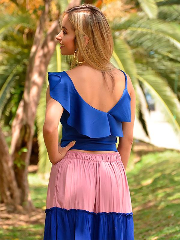 blusas escotadas azul
