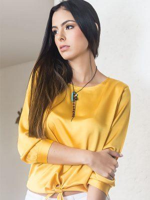 Blusa de moda casual amarilla